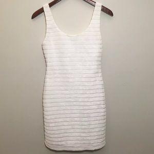Small White Ribbed Dress Mini Sleeves Festival